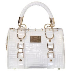 "GIANNI VERSACE WHITE QUILTED PATENT LEATHER "" SNAP OUT OF IT"" SMALL Bag"