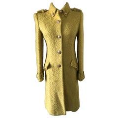 Gianni Versace Yellow Boucle Coat Size S.