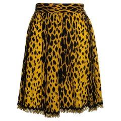 Gianni Versace yellow cheetah print wool crepe pleated wrap skirt, ss 1992