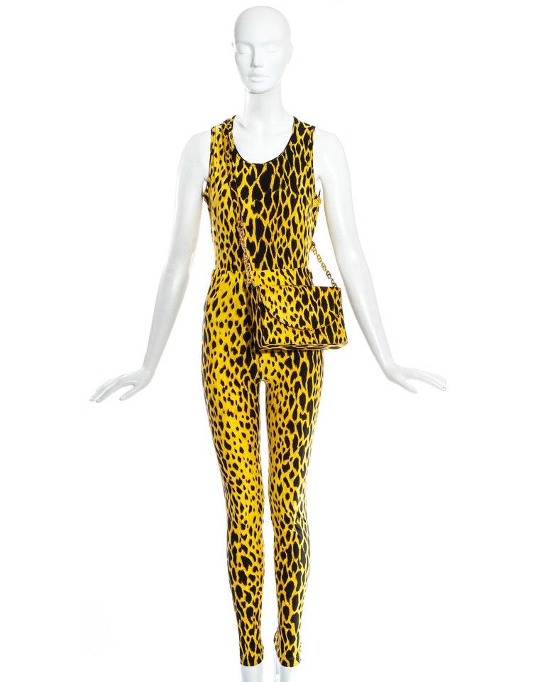 Yellow Gianni Versace yellow leopard print four piece ensemble, ss 1992