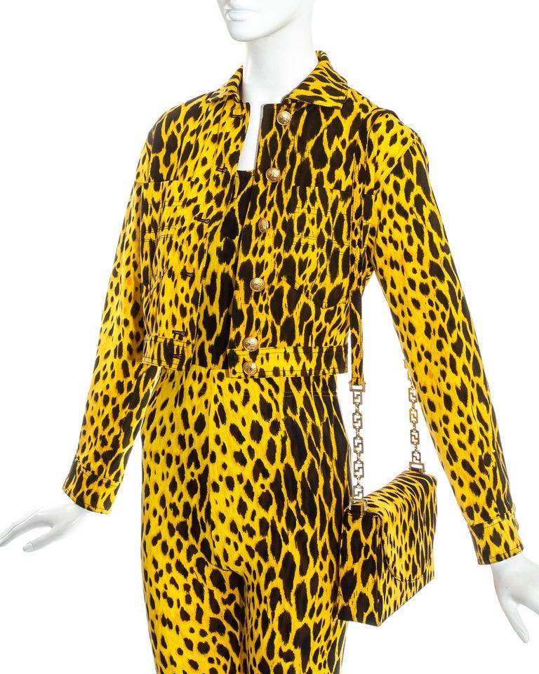 Gianni Versace yellow leopard print four piece ensemble, ss 1992 1
