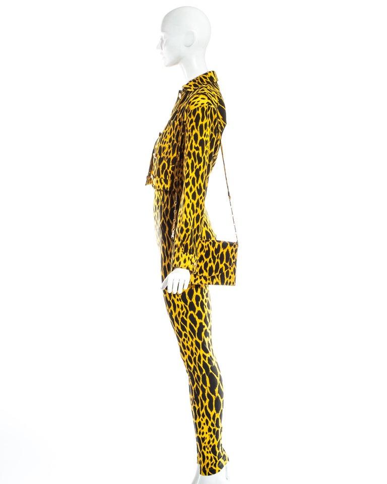 Gianni Versace yellow leopard print four piece ensemble, ss 1992 2