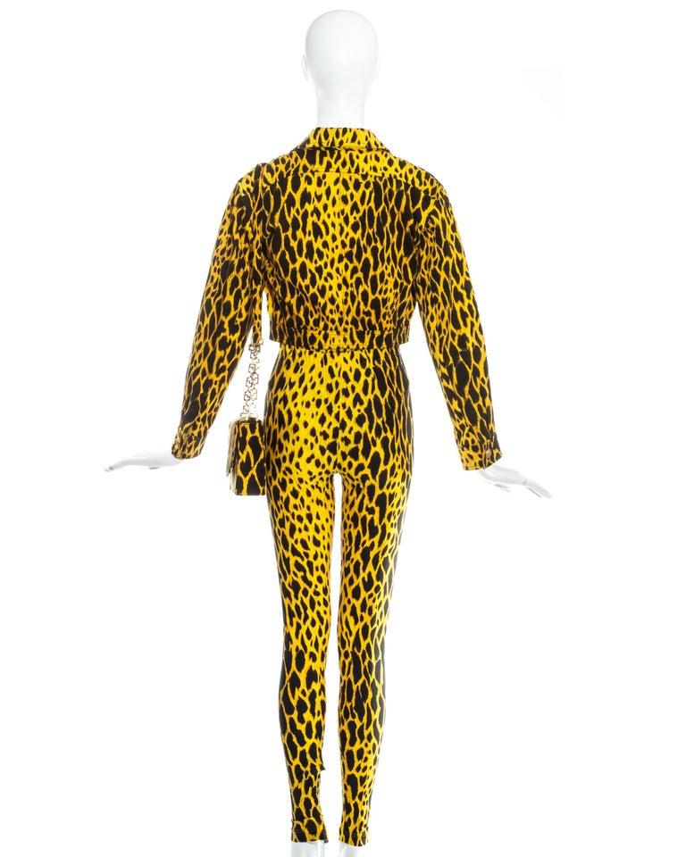 Gianni Versace yellow leopard print four piece ensemble, ss 1992 3