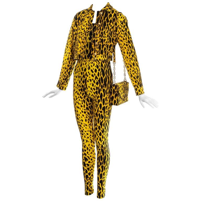 Gianni Versace yellow leopard print four piece ensemble, ss 1992