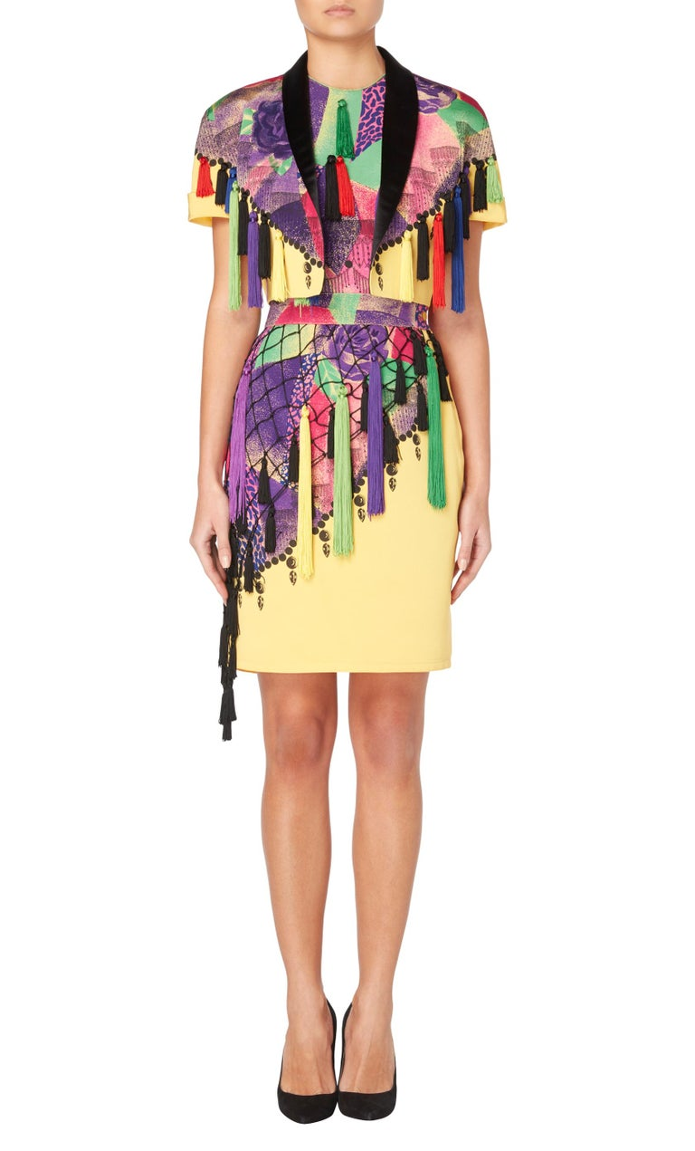 A Gianni Versace multicolour cotton blend tassel three-piece ensemble from the Spring/Summer 1990 collection. Constructed in cotton, cupro and rayon.
