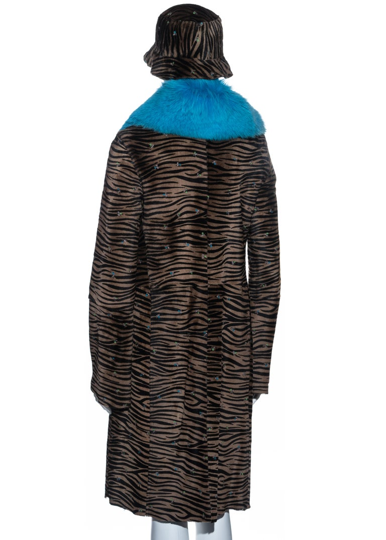 Gianni Versace zebra print pony hair coat with fox fur and bucket hat, fw 1999 1