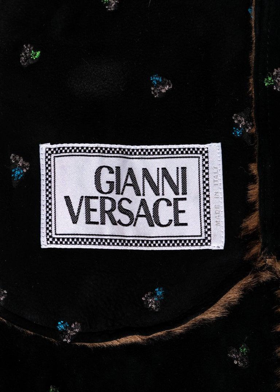 Gianni Versace zebra print pony hair coat with fox fur and bucket hat, fw 1999 3