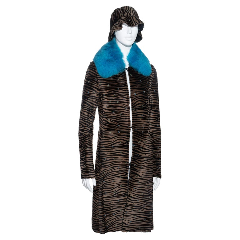 Gianni Versace zebra print pony hair coat with fox fur and bucket hat, fw 1999