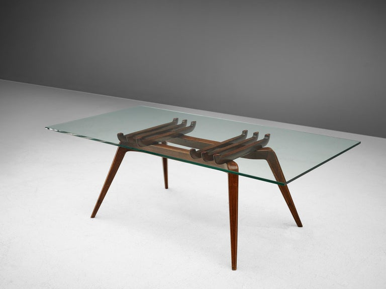 Gianni Vigorelli, coffee table, walnut, glass, Italy, 1950s