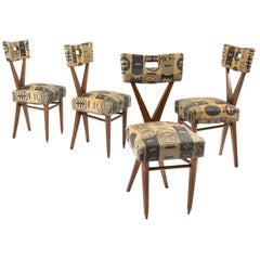 Gianni Vigorelli Set of Four Wooden Chairs with Original Fabric, 1950s