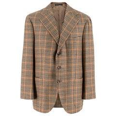 Gianni Volpe Brown Stripe Pattern Tweed Blazer Jacket Size Large