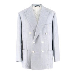 Gianni Volpe Light Blue Herringbone Double Breasted Blazer XL