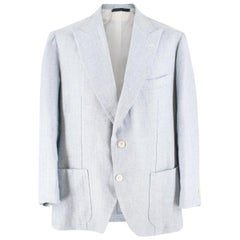 Gianni Volpe Light Blue Herringbone Single Breasted Blazer XL