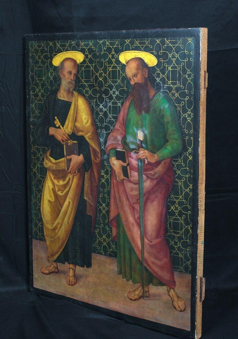 Saint Peter & Saint Paul, oil on panel - Painting by Giannicola di Paolo