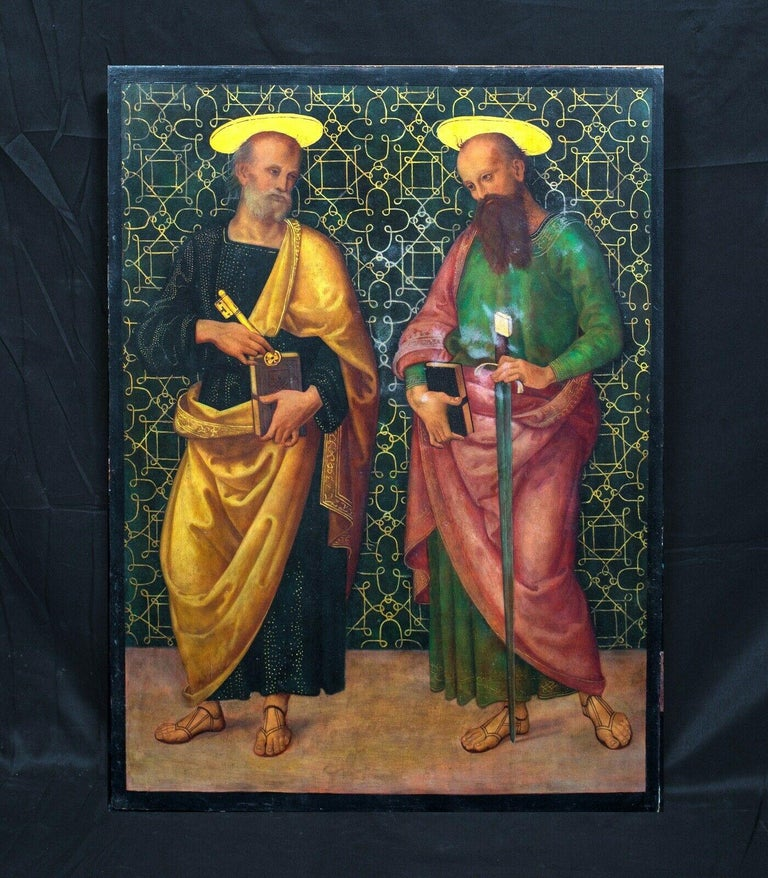 Saint Peter & Saint Paul, oil on panel  after Giannicola di Paolo (1460-1544)  Fine 15th Century Style Italian Renaissance Old Master depiction of Saint Peter & Saint Paul, oil on panel. Magnificent devtotional scene on panel of the two apostles