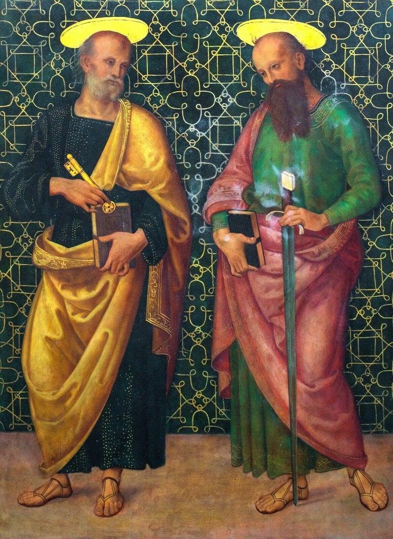 Giannicola di Paolo  Portrait Painting - Saint Peter & Saint Paul, oil on panel