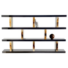 Giano Bookcase in Glossy Ebony and Corno Italiano, Mod. 4511