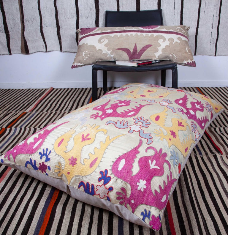 Embroidered Gianormus Floor Cushion Made from a Vintage Uzbek Suzani, 1960s For Sale