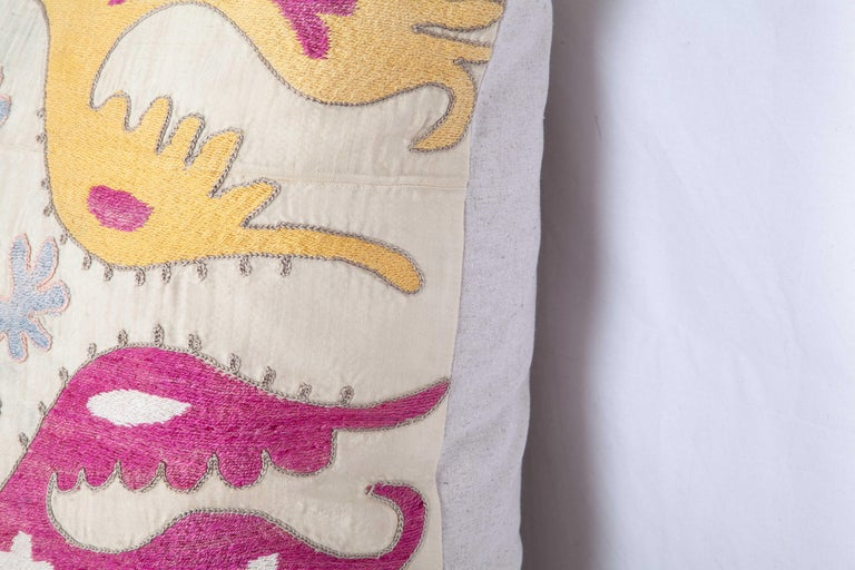 Cotton Gianormus Floor Cushion Made from a Vintage Uzbek Suzani, 1960s For Sale