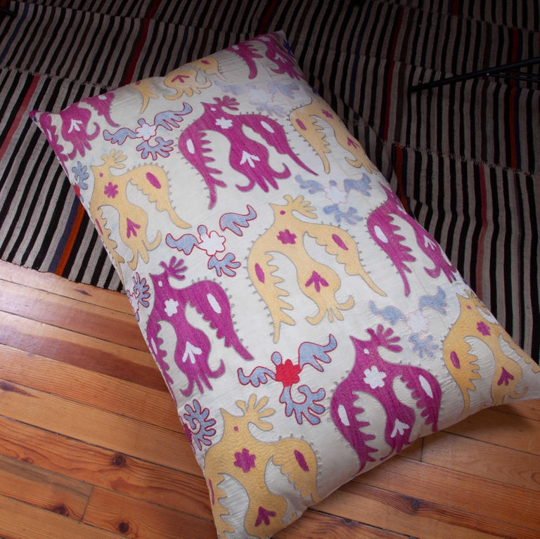 Gianormus Floor Cushion Made from a Vintage Uzbek Suzani, 1960s For Sale 1