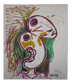 Bird-of-paradise - Original Mixed-Media Drawing by Gianpaolo Berto - 1974