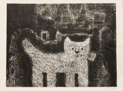 The Cat - Original Etching on Cardboard by Gianpaolo Berto - 1974