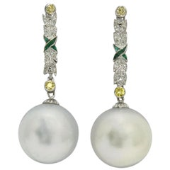 Giant South Sea Pearl Drop Dangle Earrings Long Art Deco Yellow Diamonds