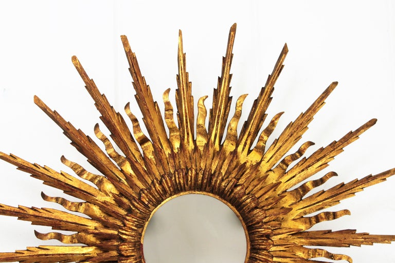 Giant 1930s Baroque Gold Leaf Giltwood Sunburst Ceiling Light Fixture or Mirror For Sale 3