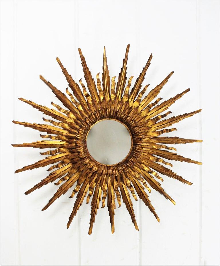 Giant 1930s Baroque Gold Leaf Giltwood Sunburst Ceiling Light Fixture or Mirror For Sale 4