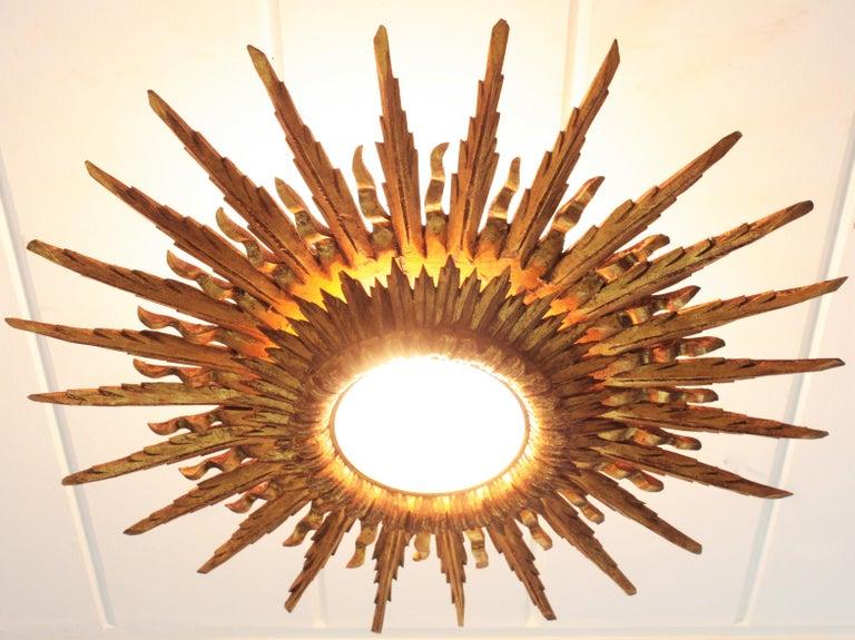 Giant 1930s Baroque Gold Leaf Giltwood Sunburst Ceiling Light Fixture or Mirror For Sale 5