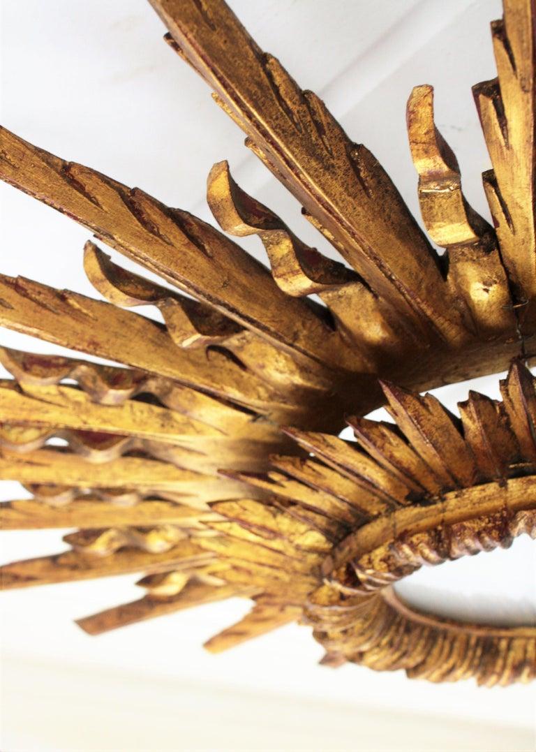 Giant 1930s Baroque Gold Leaf Giltwood Sunburst Ceiling Light Fixture or Mirror For Sale 8