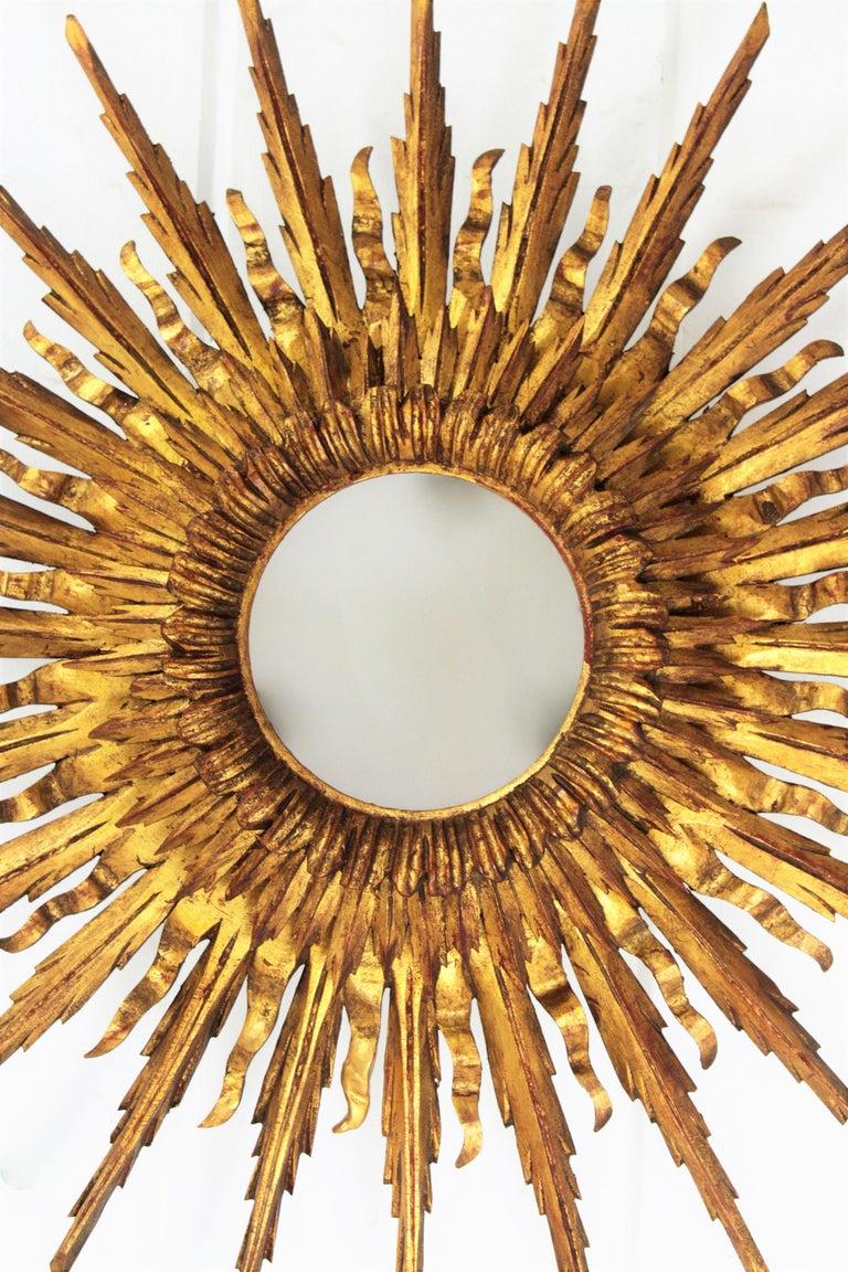 Carved Giant 1930s Baroque Gold Leaf Giltwood Sunburst Ceiling Light Fixture or Mirror For Sale