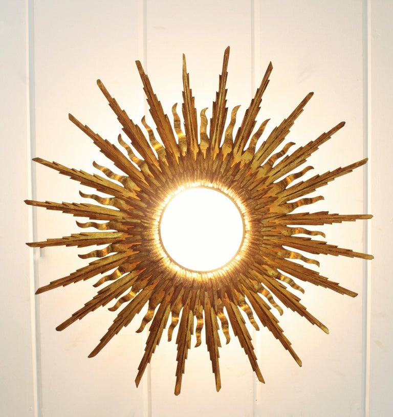 20th Century Giant 1930s Baroque Gold Leaf Giltwood Sunburst Ceiling Light Fixture or Mirror For Sale