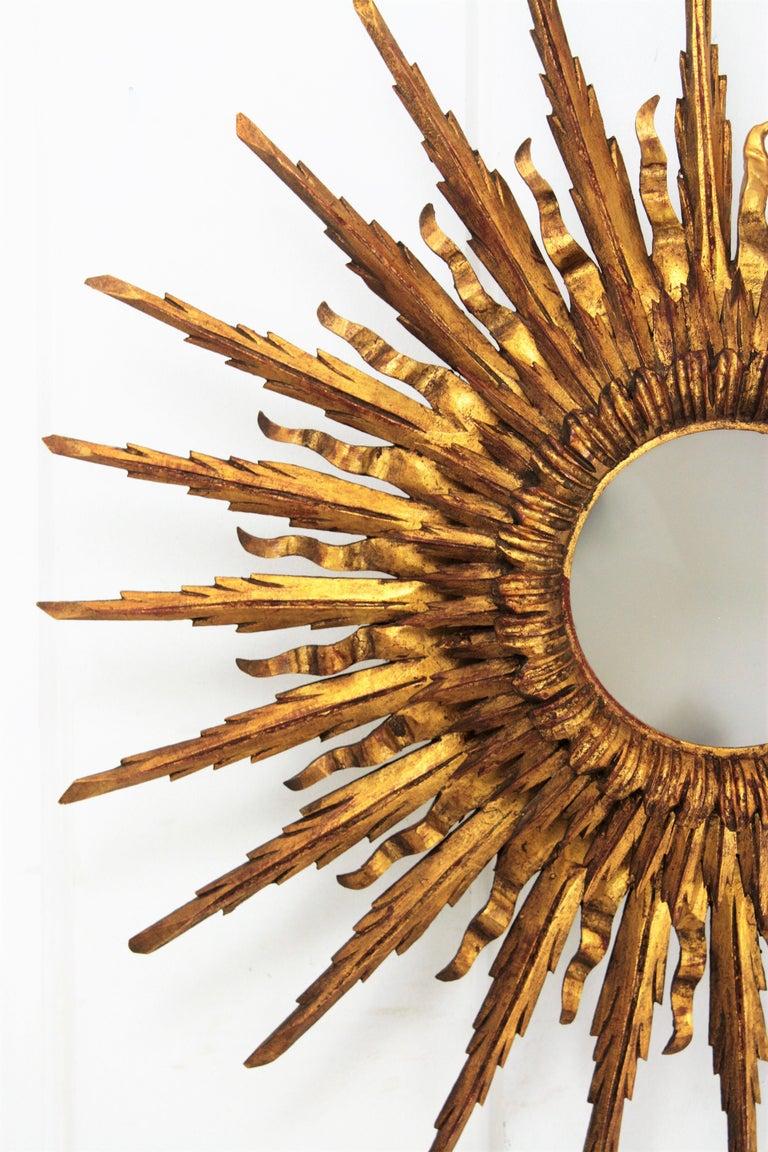 Glass Giant 1930s Baroque Gold Leaf Giltwood Sunburst Ceiling Light Fixture or Mirror For Sale