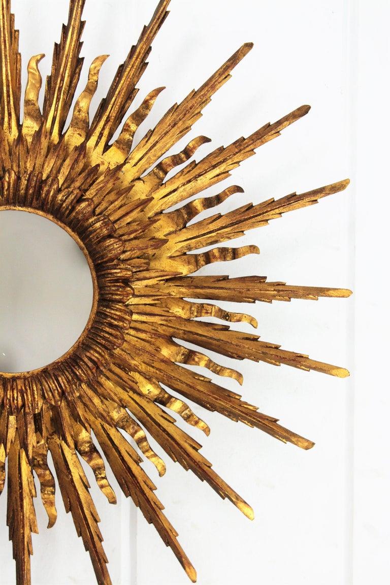 Giant 1930s Baroque Gold Leaf Giltwood Sunburst Ceiling Light Fixture or Mirror For Sale 1