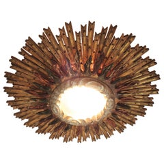 Giant Sunburst Spanish Baroque Gold Leaf Giltwood Ceiling Light Fixture, 1930s