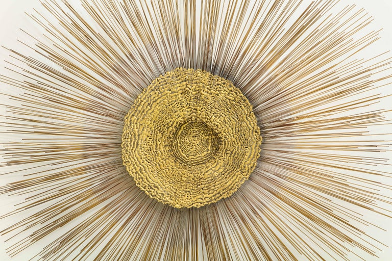 American Giant 1970s Brass Sunburst Wall Sculpture by Curtis Jere For Sale