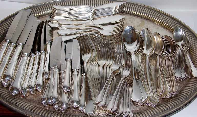 Giant 800 Silver Flatware and Fish Set for 12 Service, 127 Pieces, Cutlery For Sale 2