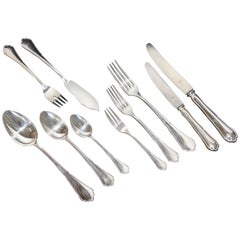 Giant 800 Silver Flatware and Fish Set for 12 Service, 127 Pieces, Cutlery
