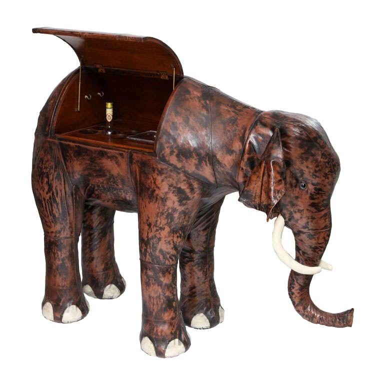 Giant Abercrombie and Fitch Leather Elephant Bar For Sale