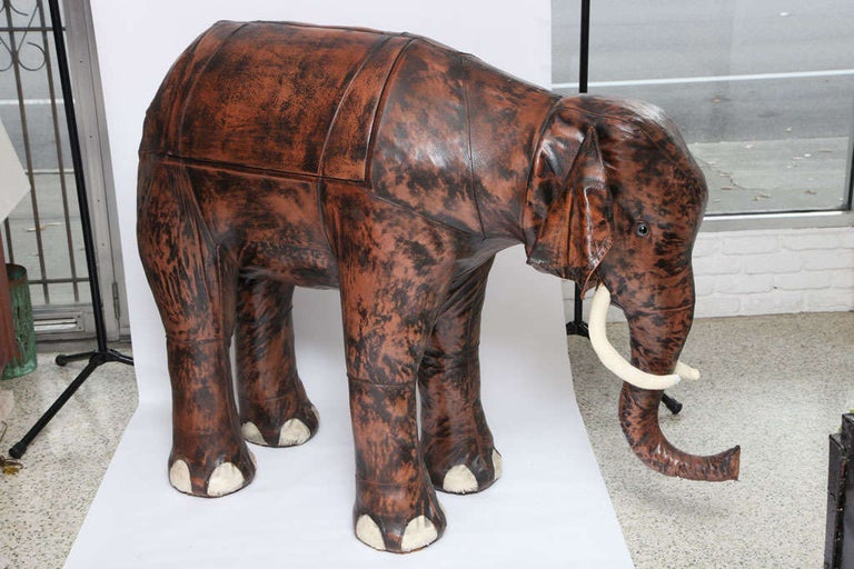 20th Century Giant Abercrombie and Fitch Leather Elephant Bar For Sale