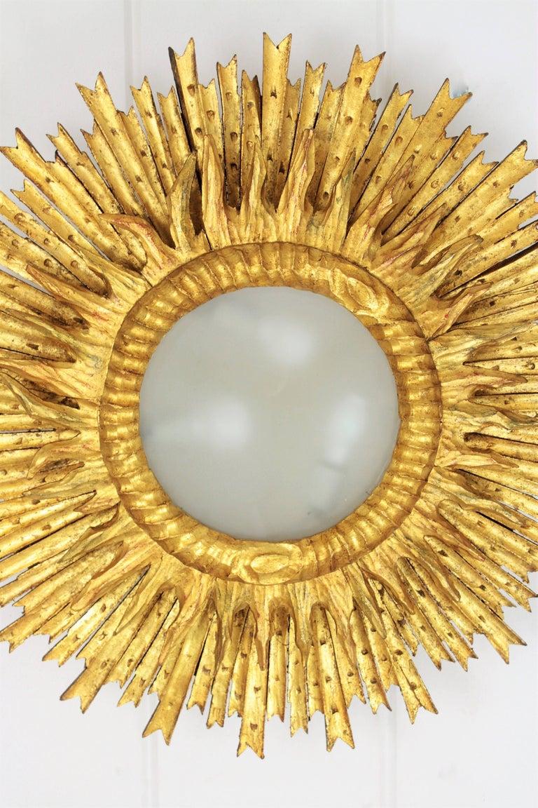 Giant Baroque Giltwood Sunburst Ceiling Light Fixture Or