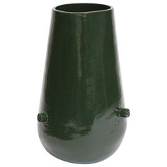 Giant Bowl Bottom Contemporary Ceramic Vase in Chrome Green
