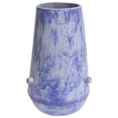 Giant Bowl Bottom Contemporary Ceramic Vase in Matte Blue