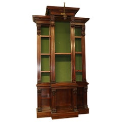 Giant Carved Walnut Victorian Tall Bookcase Bookshelf, circa 1890s