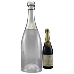 Giant Champagne Bottle Decanter with Sterling Silver Top, Hallmarked, 1892