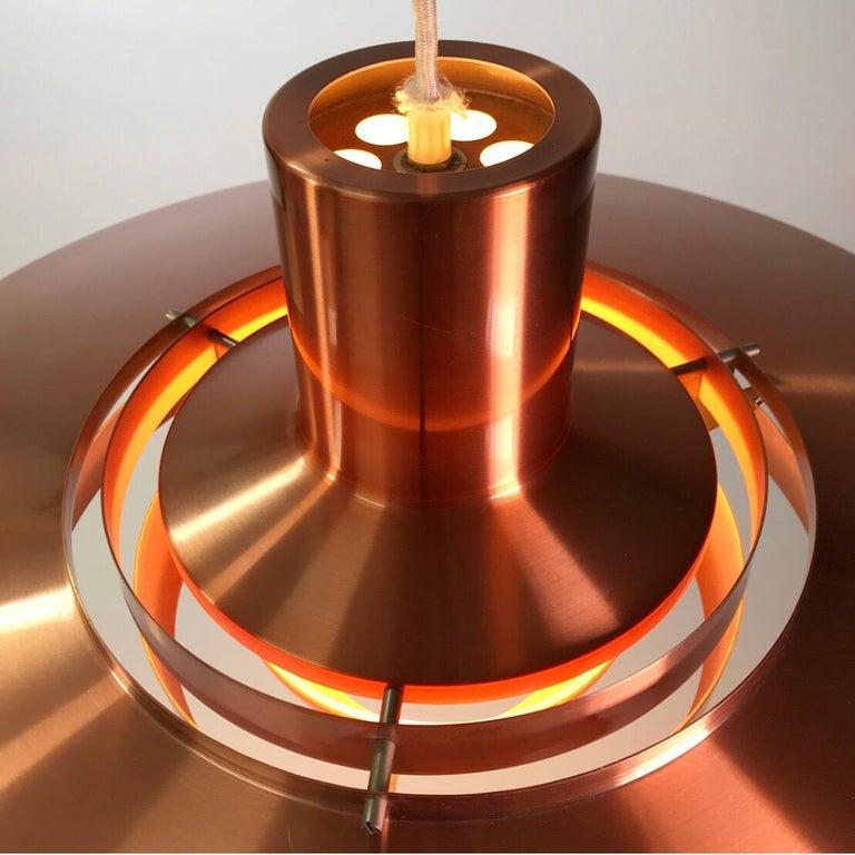 Scandinavian Modern Giant Copper Ceiling Light P700 by Kastholm & Fabricius for Nordisk Solar 1964 For Sale