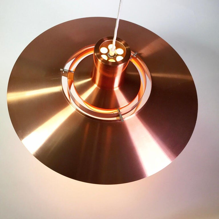 Giant Copper Ceiling Light P700 by Kastholm & Fabricius for Nordisk Solar 1964 For Sale 2