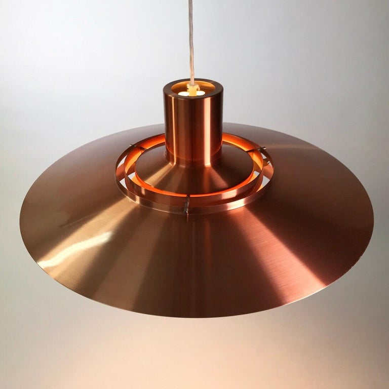 Giant Copper Ceiling Light P700 by Kastholm & Fabricius for Nordisk Solar 1964 For Sale 3