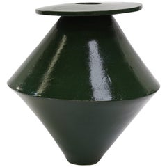 Giant Diamond Contemporary Ceramic Vase in Chrome Green